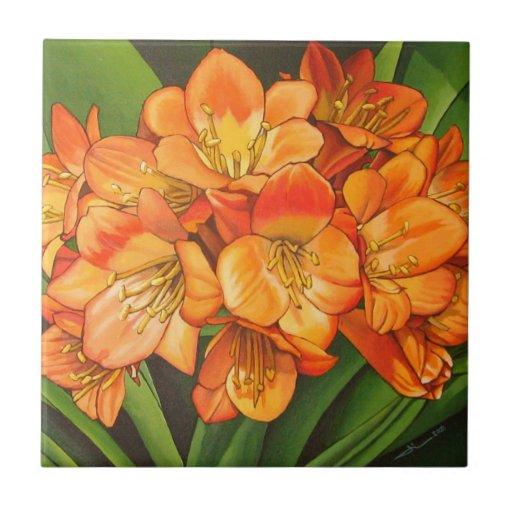 Flowers oranges ceramic tiles