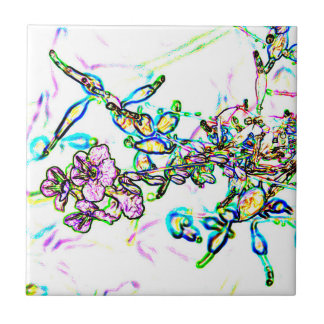 flowers outline abstract sparkle small square tile