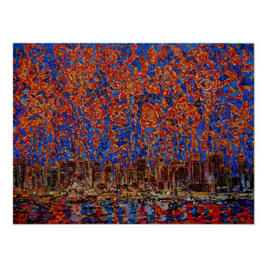 Flowers over the city. New York Poster