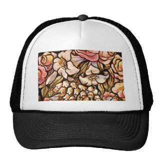 Flowers Painted on Glass Trucker Hat