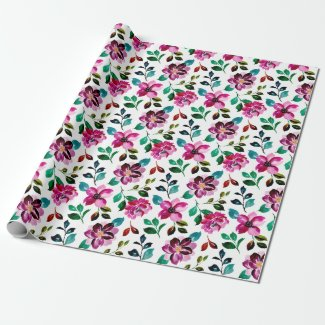 Flowers painting in watercolor wrapping paper