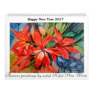 Flowers paintings happy new year calender 2017 calendar