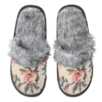Flowers Pair Of Fuzzy Slippers