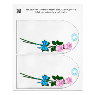 Flowers Party gift or favor Bag Tags Flyer