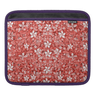 Flowers Pattern Collage in Coral an White Colors iPad Sleeve