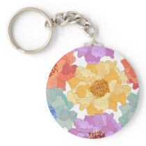 Flowers pattern colorful classical decor keychain