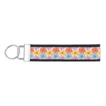 Flowers pattern colorful classical decor wrist keychain
