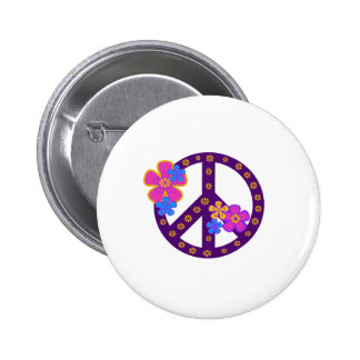 Flowers Peace Symbol 2 Inch Round Button