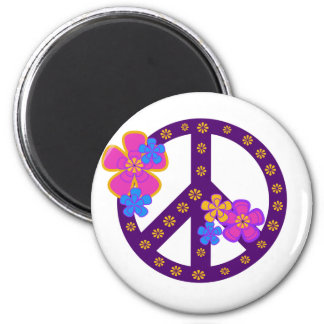 Flowers Peace Symbol 2 Inch Round Magnet