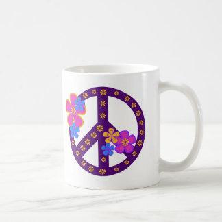 Flowers Peace Symbol Coffee Mug