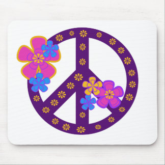 Flowers Peace Symbol Mouse Pad