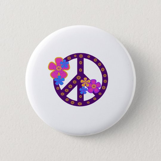 Flowers Peace Symbol Pinback Button