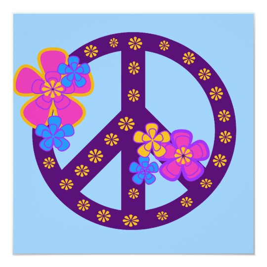 Flowers Peace Symbol T-shirts and Gifts Card