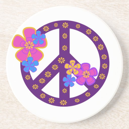 Flowers Peace Symbol T-shirts and Gifts Beverage Coasters