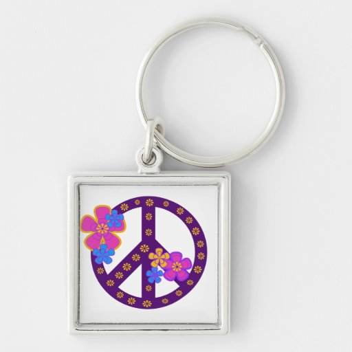 Flowers Peace Symbol T-shirts and Gifts Keychains