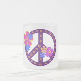 Flowers Peace Symbol T-shirts and Gifts 10 Oz Frosted Glass Coffee Mug