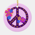 Flowers Peace Symbol T-shirts and Gifts Christmas Tree Ornaments