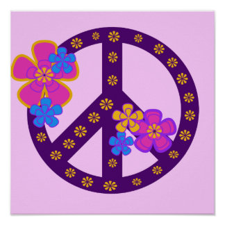 Flowers Peace Symbol T-shirts and Gifts Poster