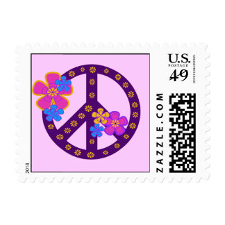 Flowers Peace Symbol T-shirts and Gifts Stamp