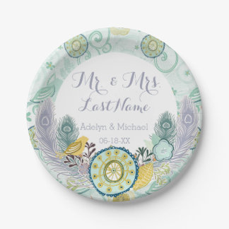 Flowers Peacock Feathers Wedding Paper Plates 7 Inch Paper Plate