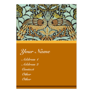 FLOWERS,PEACOCKS AND DRAGONS MONOGRAM LARGE BUSINESS CARD