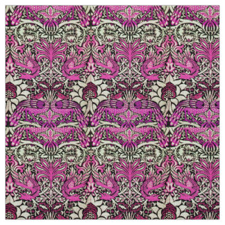 FLOWERS,PEACOCKS AND DRAGONS ,Pink BLack White Fabric