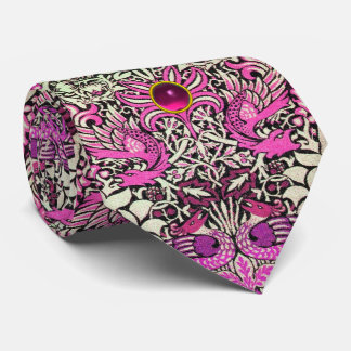 FLOWERS,PEACOCKS AND DRAGONS PINK GEM STONE TIE