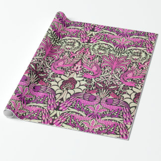 FLOWERS,PEACOCKS AND DRAGONS Pink Purple Wrapping Paper