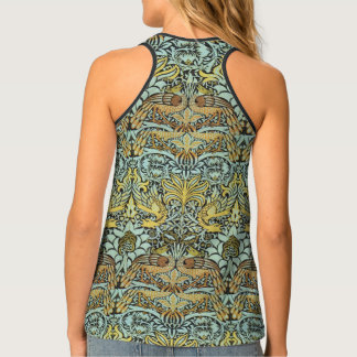 FLOWERS,PEACOCKS AND DRAGONS ,Yellow BLack White Tank Top