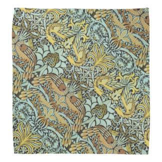 FLOWERS,PEACOCKS AND DRAGONS,Yellow Brown Grey Bandana