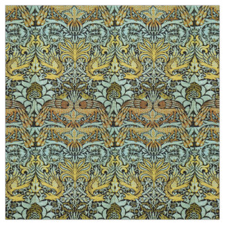 FLOWERS,PEACOCKS AND DRAGONS ,Yellow Brown Grey Fabric