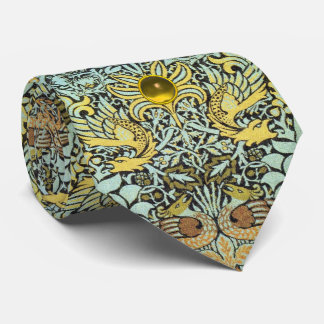 FLOWERS,PEACOCKS AND DRAGONS YELLOW GEM STONE NECK TIE