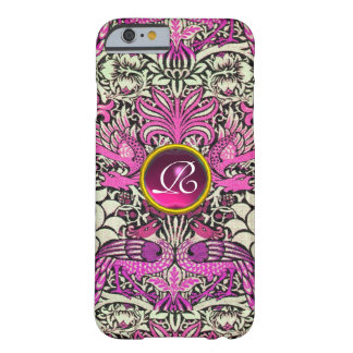 FLOWERS,PEACOCKS, DRAGONS, PINK GEM STONE MONOGRAM BARELY THERE iPhone 6 CASE
