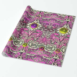 FLOWERS,PEACOCKS,DRAGONS, PINK YELLOW GEM STONES WRAPPING PAPER