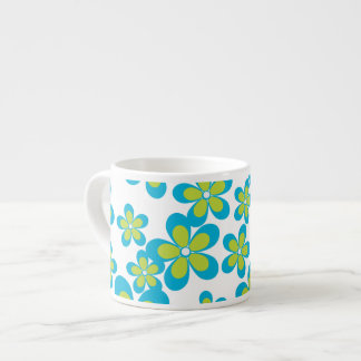 Flowers, Petals, Blossoms - Green Blue White Espresso Cup
