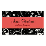 Flowers, Petals, Leaves - Black White Red Business Card Template