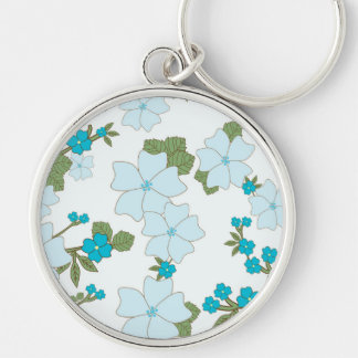 Flowers, Petals, Leaves, Blossoms - Blue Green Keychain