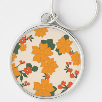 Flowers, Petals, Leaves, Blossoms - Orange Green Keychain