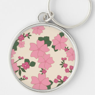 Flowers, Petals, Leaves, Blossoms - Pink Green Keychain
