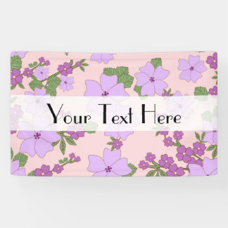 Flowers, Petals, Leaves, Blossoms - Purple Green Banner