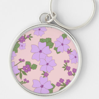 Flowers, Petals, Leaves, Blossoms - Purple Green Keychain
