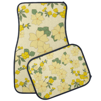 Flowers, Petals, Leaves, Blossoms - Yellow Green Car Floor Mat