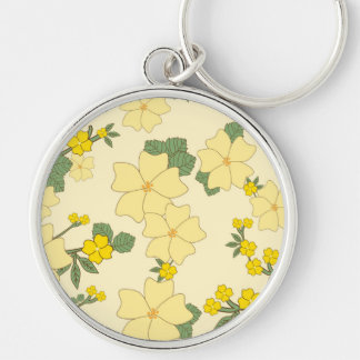 Flowers, Petals, Leaves, Blossoms - Yellow Green Keychain