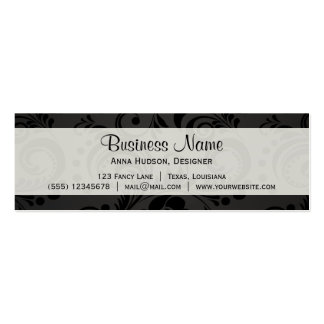 Flowers, Petals, Leaves, Swirls - Gray Black Business Card Template