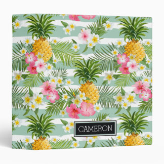 Flowers & Pineapple Teal Stripes | Add Your Name 3 Ring Binder