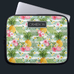 "Flowers &amp; Pineapple Teal Stripes | Add Your Name Laptop Sleeve<br><div class=""desc"">Plants &amp; Flowers 