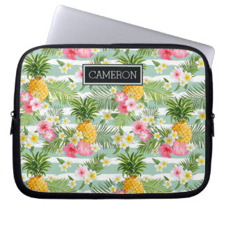 Flowers & Pineapple Teal Stripes   Add Your Name Laptop Sleeve