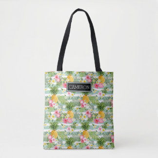 Flowers & Pineapple Teal Stripes | Add Your Name Tote Bag