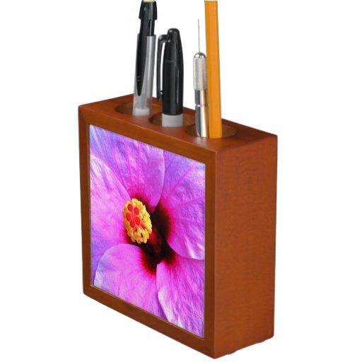 Flowers pink desk organizer pencil holder zazzle - Pink desk organizer ...