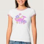 Flowers Pink Parasaurolophus Dinosaur T-Shirt